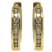 Diamond Hoop Earrings in 14kt Yellow Gold