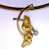 Alaskan Gold Nugget and Diamond Custom Slide in 18kt Gold