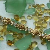 Alaskan Gold Nugget and Diamond Bracelet in Yellow Gold.