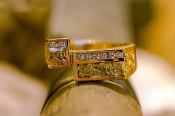 Alaskan Gold Nuggets and Diamonds in Yellow Gold Ring