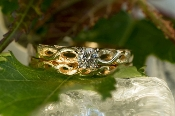Custom Alaskan Gold Nuggets Diamonds in 14kt Yellow Gold wedding ring set.