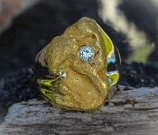 Custom Alaskan Gold Nugget and Diamond in 14kt Yellow Gold.