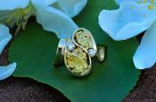 Natural Alaskan Gold Nugget Diamond Ring in 14Kt yellow gold.