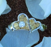 Alaskan Gold Nugget heart Ring and diamond in 14kt White Gold.