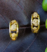 Natural Gold Nugget Hoop Earrings in 14kt Yellow Gold