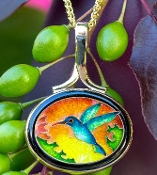 Stunning Cloisonne Pendant in 14kt yellow gold