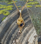 Alaskan Gold Nugget and Sapphire in 14kt Gold Pendant
