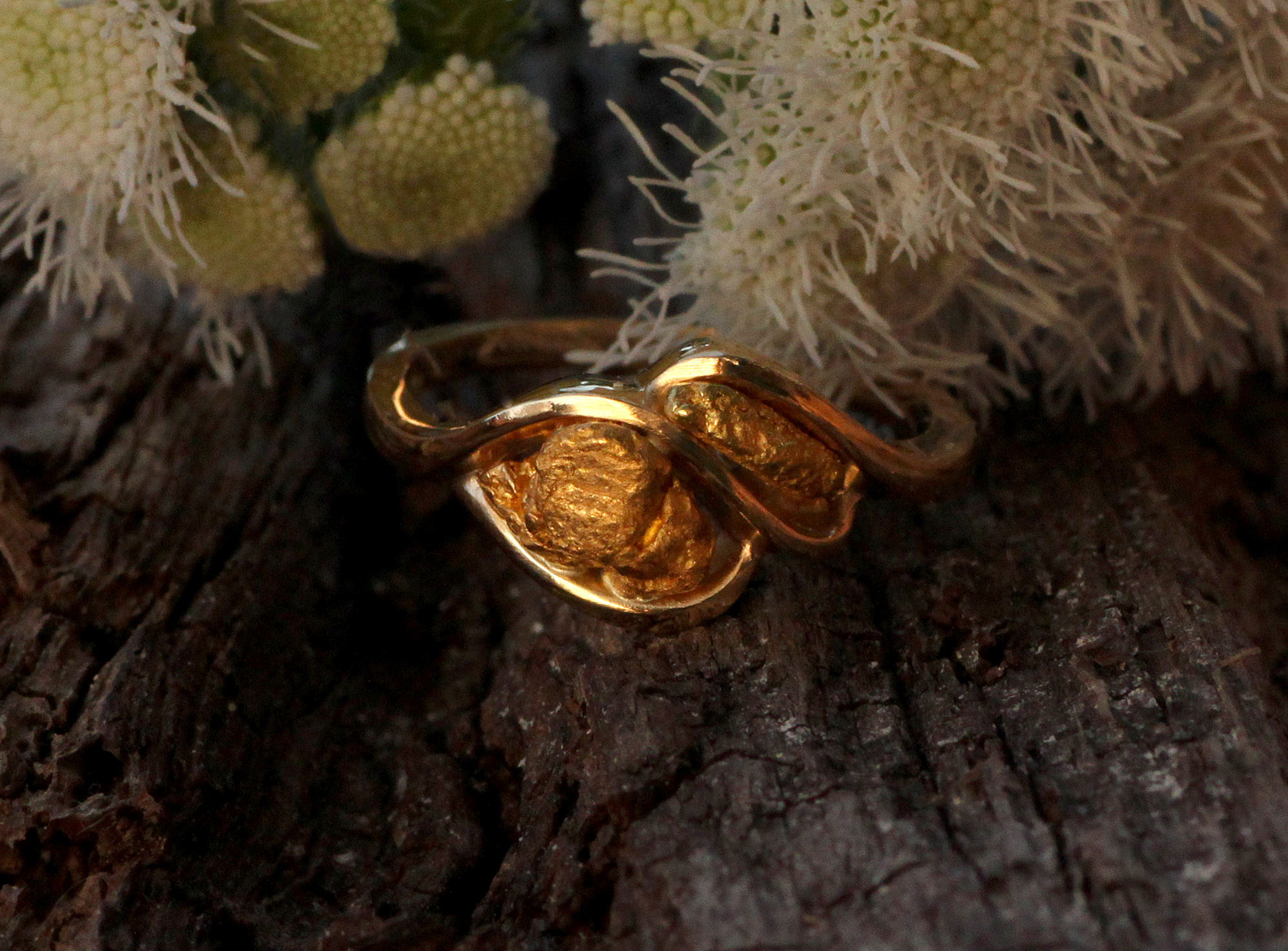 Alaskan Gold Nugget Twist Ring in Yellow Gold, Made in Fairbanks Alaska, Gold Rush Fine Jewelry