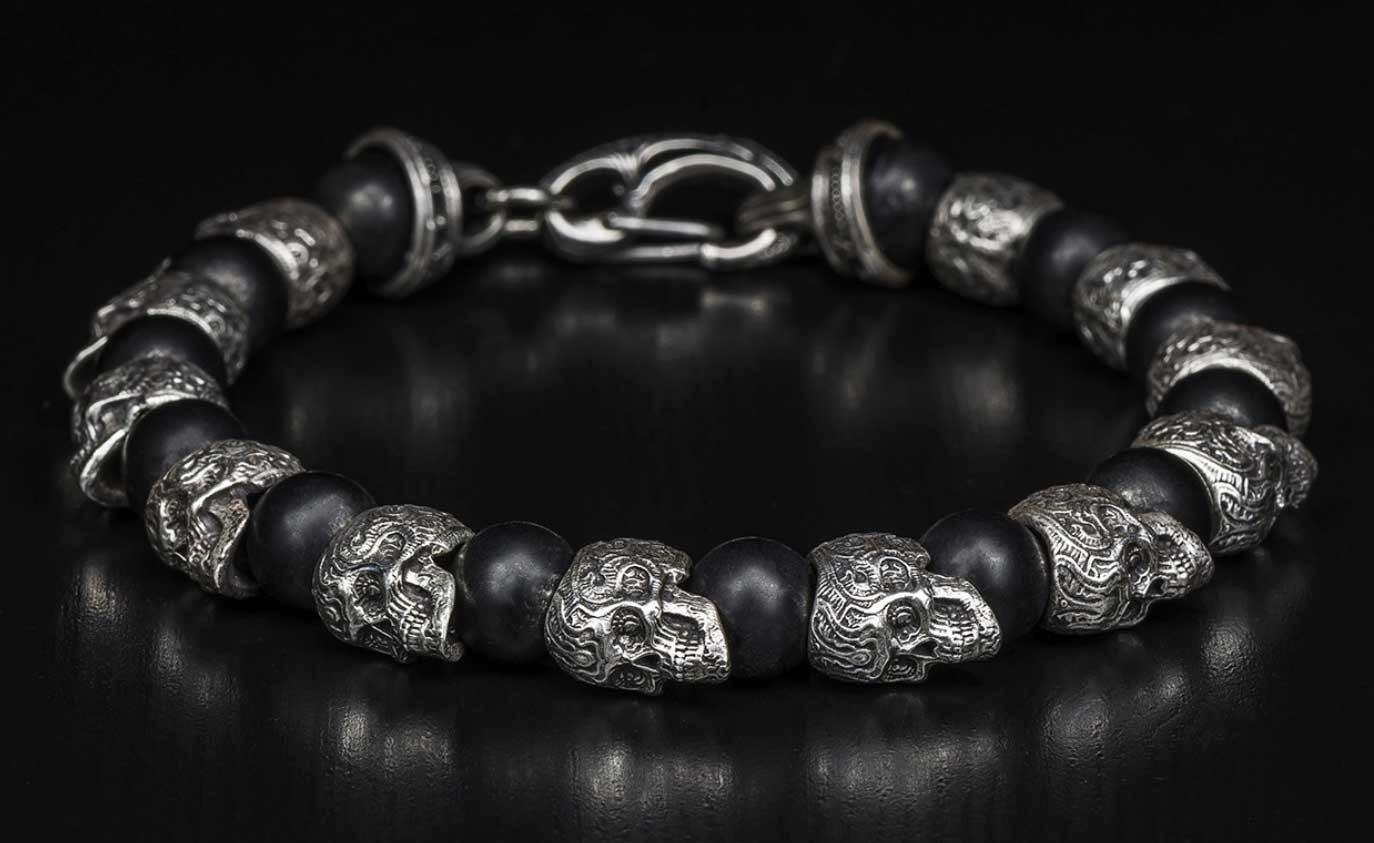 Beaded Skull Bracelet - William Henry Collection