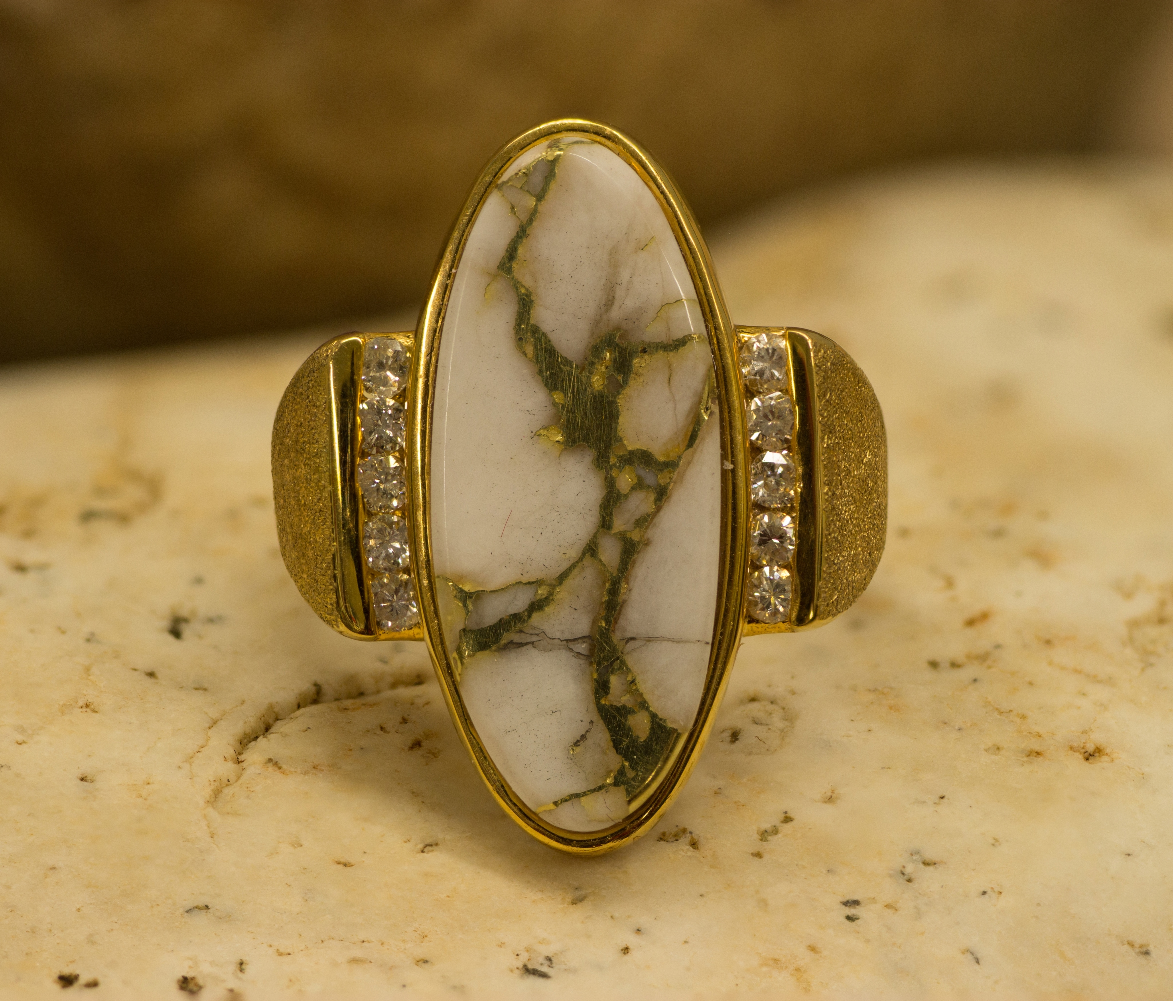 Custom Gold Quartz Ring with Diamonds.