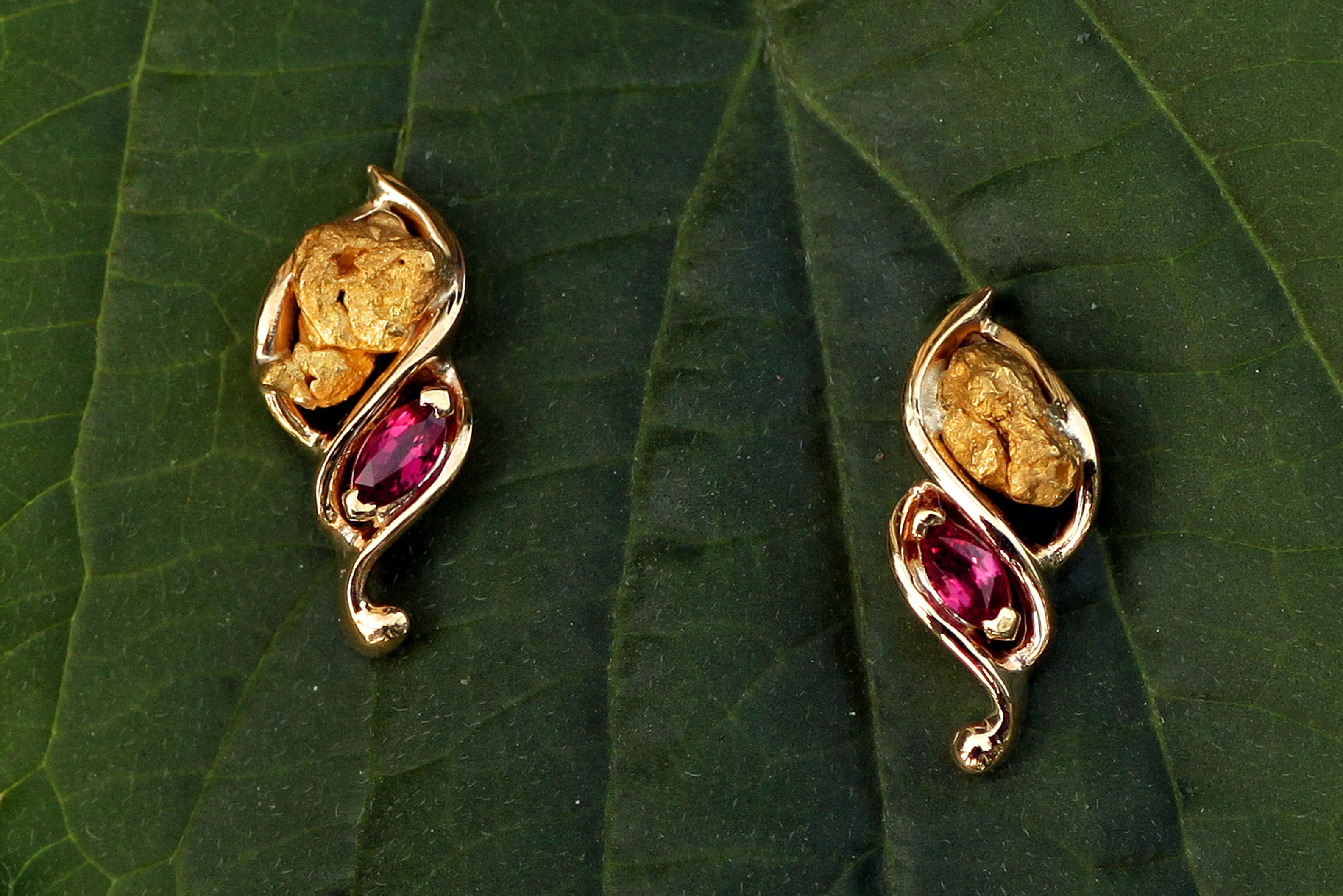Ruby and Alaskan Gold Nugget Earrings