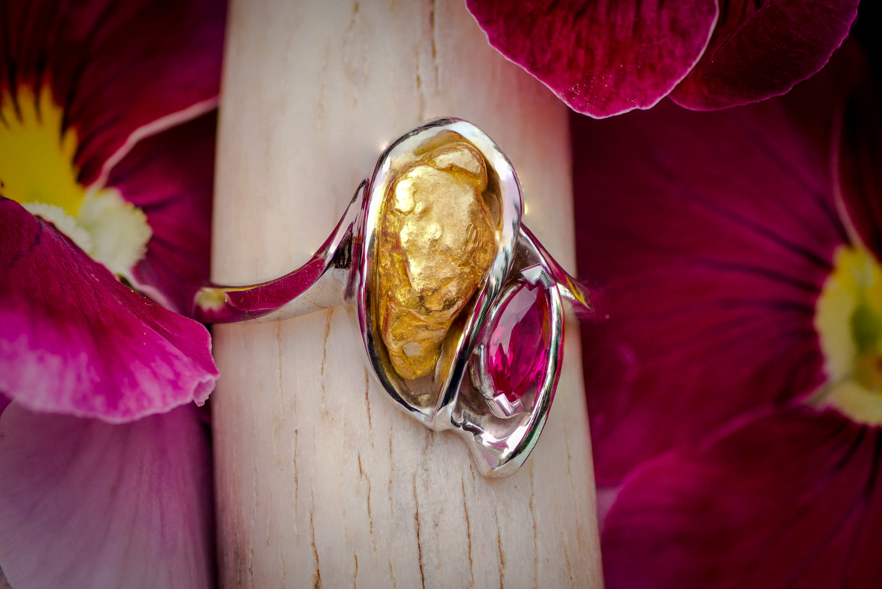 Alaskan Gold Nugget Ring with ruby