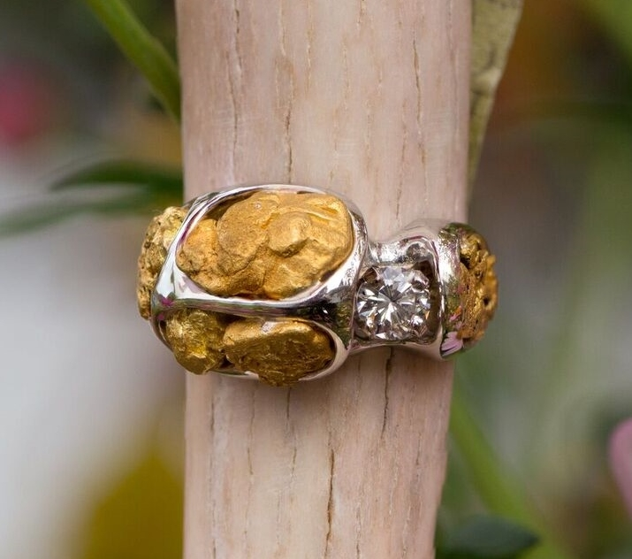 Alaskan Gold Nuggets and Diamonds in White Gold Ring