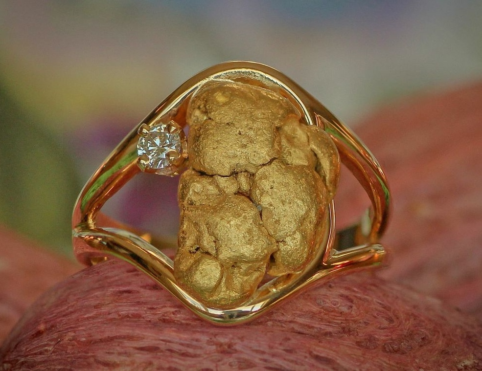 Custom Alaskan Gold Nugget Ring