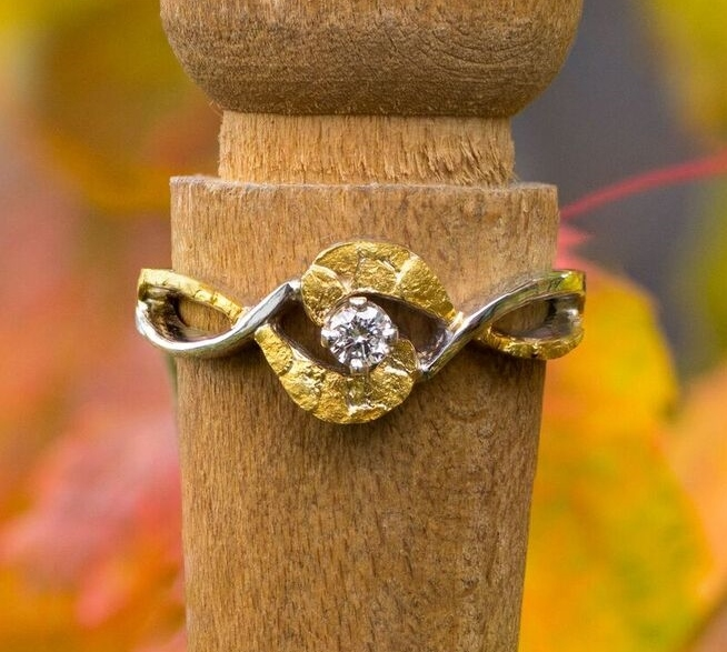 Alaskan Gold Nugget Ring and diamond in 14kt White Gold.