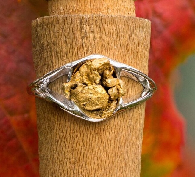 Natural Alaskan Gold Nugget Ring