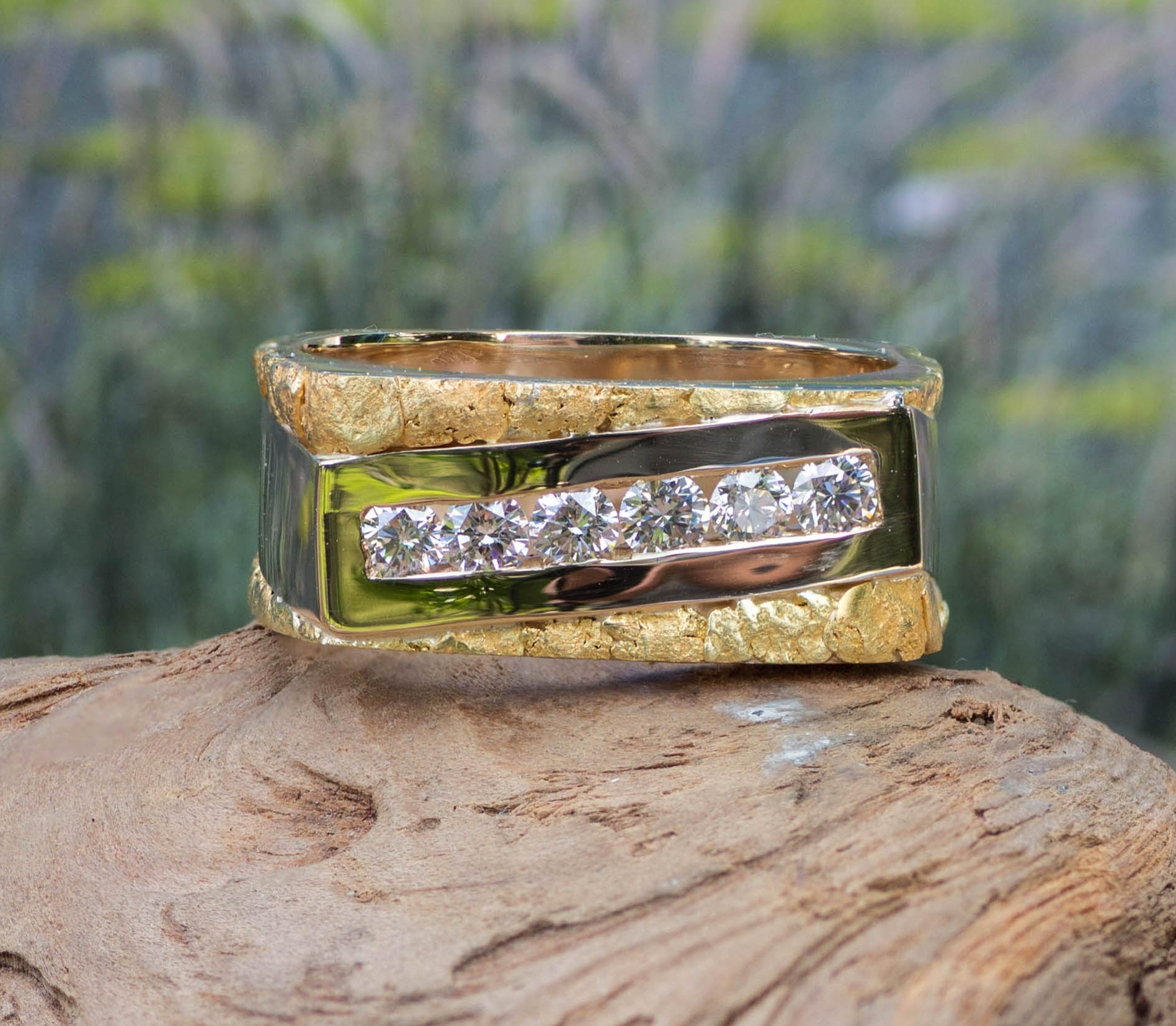 Natural Alaskan Gold Nugget Diamond Wedding Band