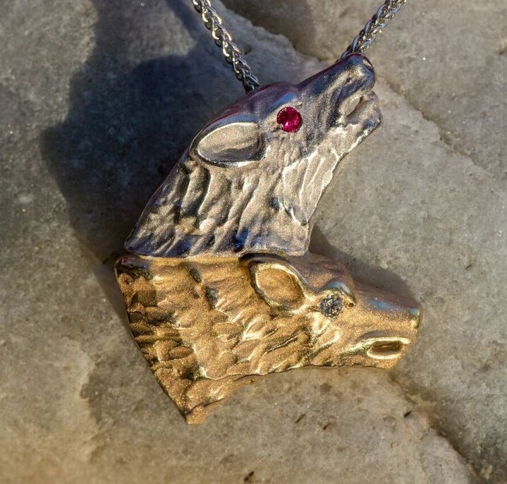 Wild Alaska Wolf Crafted in 14kt Yellow and White Gold Pendant