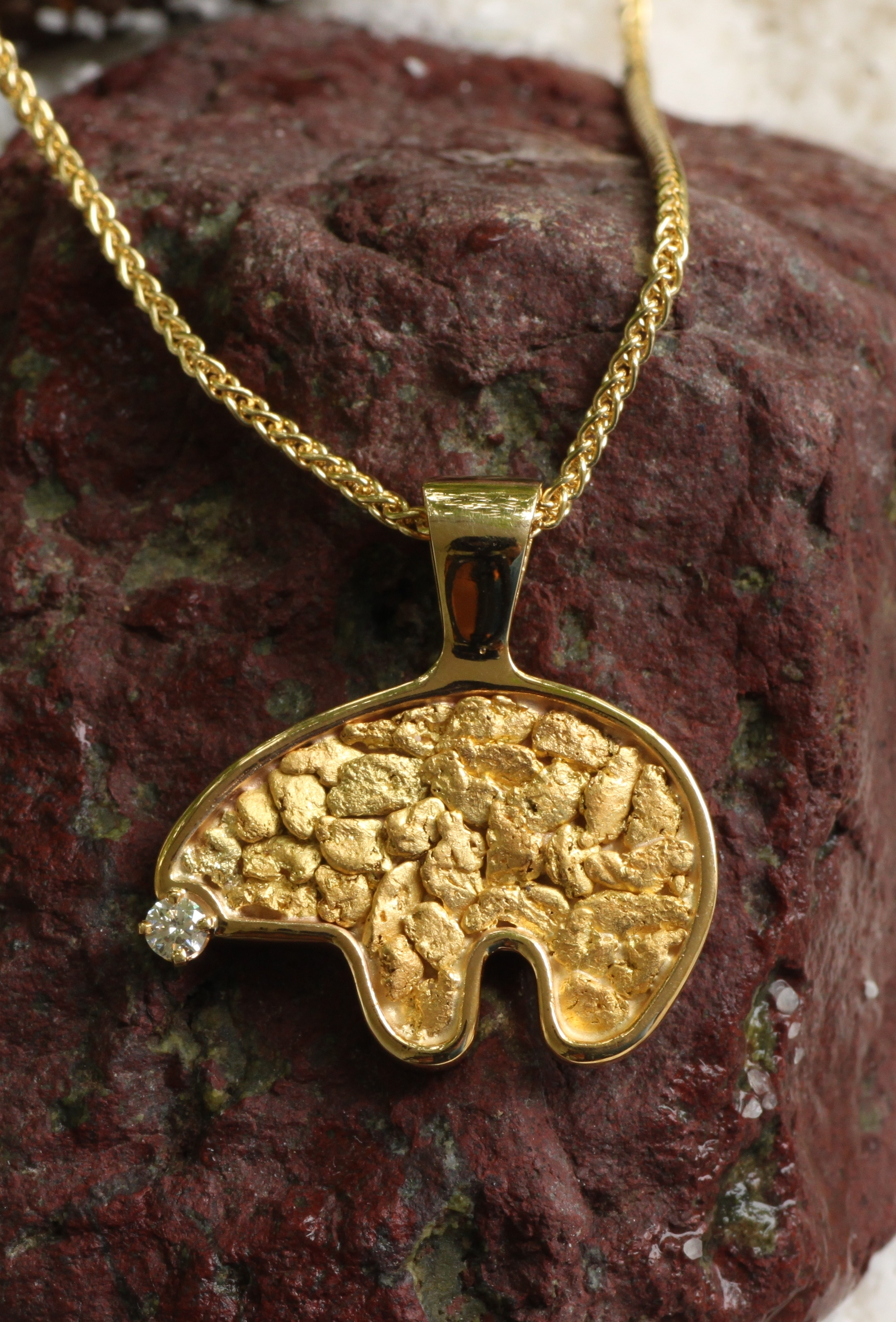 Wild Alaska Bear Pendant with Alaskan Gold Nuggets and Diamond