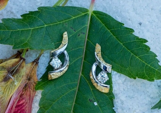 Alaskan Gold Nugget earrings with diamonds in 14kt white gold.