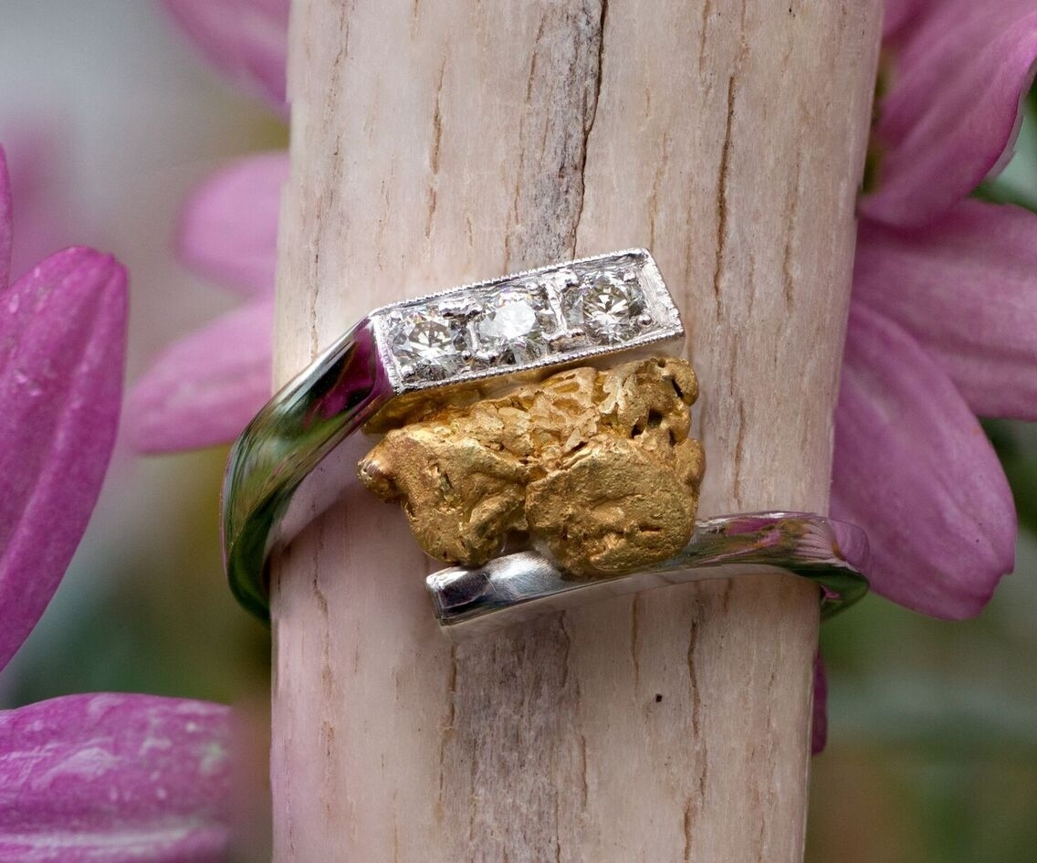 Alaskan Gold Nugget and Diamond Rings