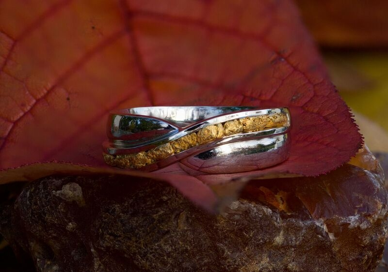 Natural Alaskan Gold Nugget Wedding Band white gold