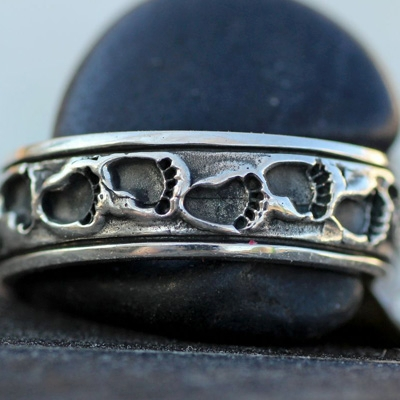 Wild Alaska Bear Footprint Ring in Sterling Silver