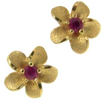 Alaskan Forget Me Not Flower Earrings in yellow and white gold with Diamonds and Rubies