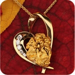 Collection of Hearts of Love, Gold Nugget Heart Jewelry