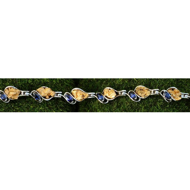 Alaskan Gold Nugget and Sapphire Bracelet in White Gold.
