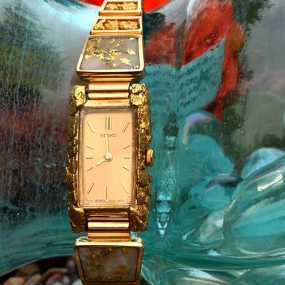 Custom Alaskan Gold Nugget Gold Quartz Diamond SEIKO Watch, Gold Nugget, Gold Quartz Diamond Jewelry
