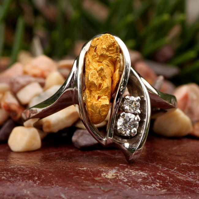 Alaskan Gold Nuggets and Diamonds in White Gold Ring, Gold Nugget Jewelry