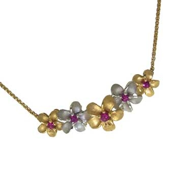 Forget Me Not Necklace with Diamonds in two tone Gold
