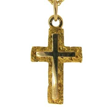 Christian 14kt Yellow Gold Cross of Jesus Christ pendant