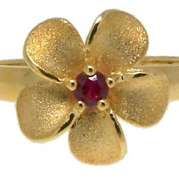 Forget Me Not Flower Ring in Yellow Gold with a Ruby center