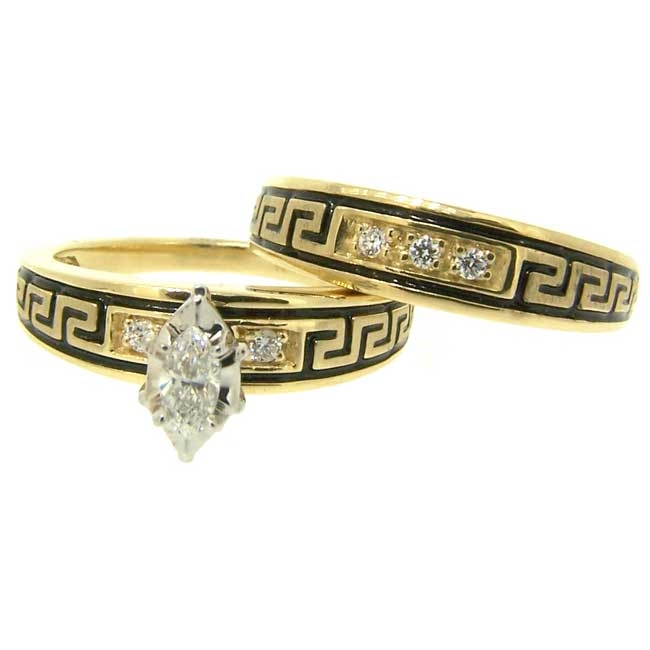 Native American Style Wedding Ring Set with Band in Yellow Gold