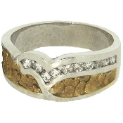 Custom Alaskan Gold Nugget Diamond Wedding Band white gold