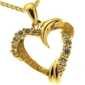 Custom Alaskan Gold Nugget and Diamond Heart Pendant