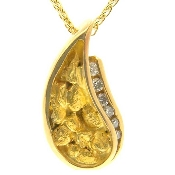 Custom Alaskan Gold Nugget Diamond Paisley Pendant Yellow Gold