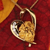 Alaskan Gold Nugget and Diamond Heart Pendant, Alaskan Gold Nugget and Diamond Heart Valentine Jewelry, Valentines Heart Jewelry