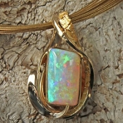 Opal and Diamond Pendant,Opals and Diamond Sale,Opal Pendant, Boulder Opal and Diamond Pendant, opal and gold nugget jewelry