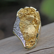 Custom Alaskan Gold Nugget and Diamond One of a Kind Party Ring
