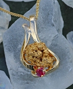Alaskan Gold Nugget and Ruby Pendant in 14kt Yellow Gold