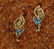 Alaskan Gold Nugget and Blue Topaz Twist Earrings in Yellow Gold