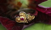 Alaskan Gold Nugget heart Ring and ruby in 14kt White Gold.