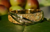 Custom Alaskan Gold Nugget Diamond Wedding Band