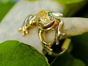 Wild Alaska Gold Nugget Frog Ring with Emerald Eyes and natural Alaskan Gold Nuggets on the back.