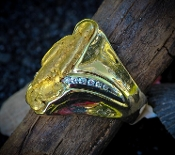 Custom Alaskan Gold Nugget and Diamonds in 14kt Yellow and White Gold.