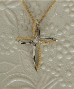 Alaskan Gold Nugget and Diamond Cross Pendant in 14kt White Gold