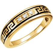 Native American Style Wedding Band in Yellow Gold